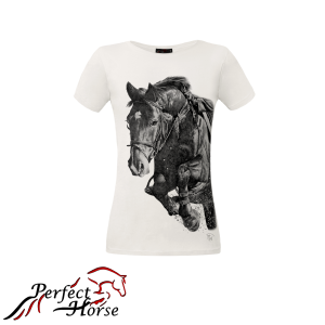 "T-shirt damski Perfect Horse ""Impression Jump White"""